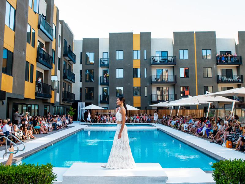 fashion show by pool