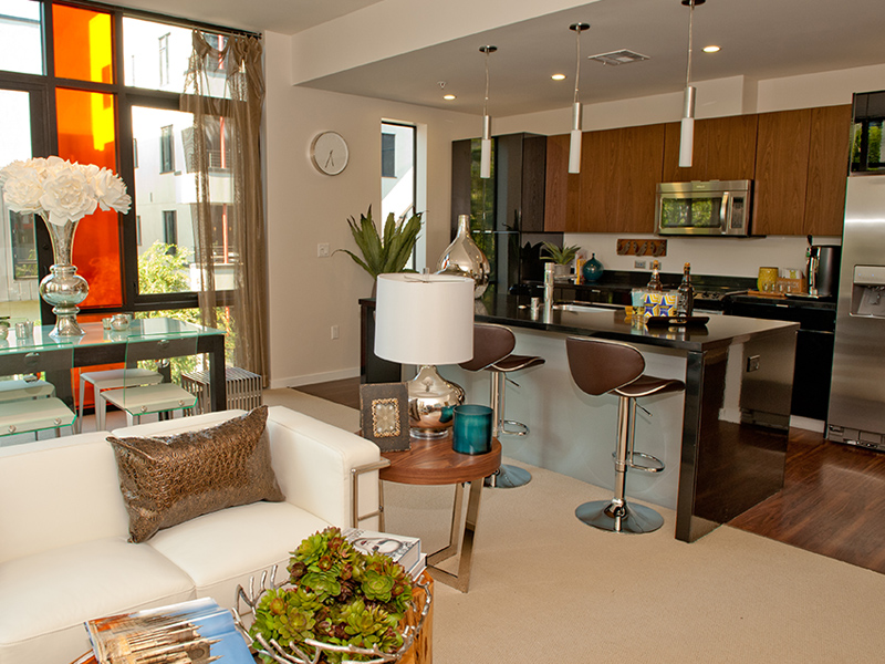 living room and kitchen bar