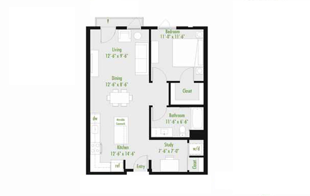 Plan A | 1 Bedroom Flat | 1 bath | 534-1,012 SF