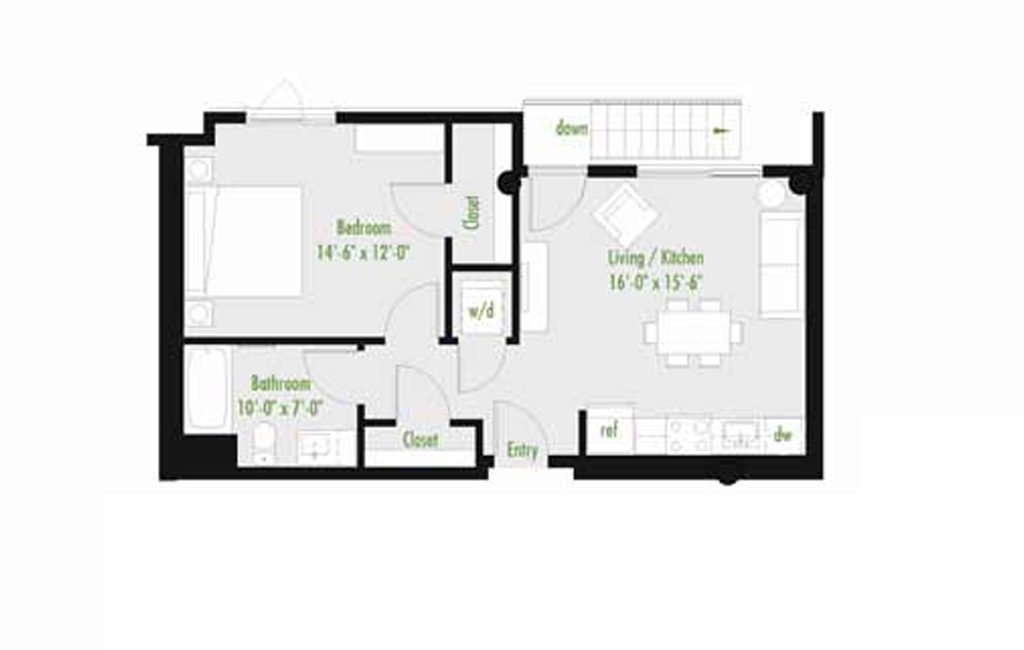 Plan I | 1 Bedroom Flat | 1 bath | 534-1,012 SF