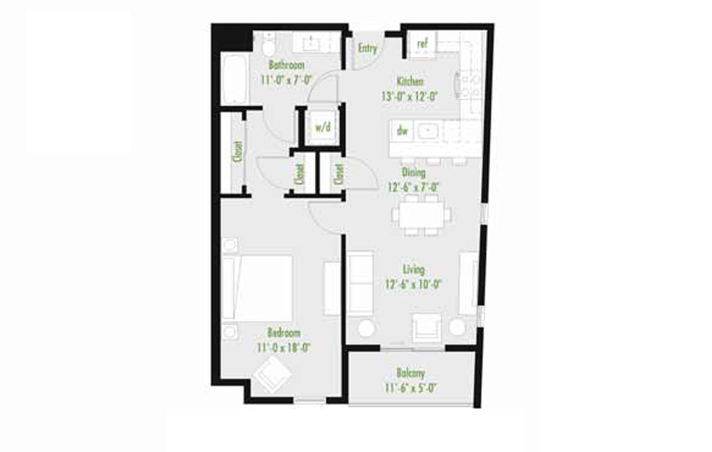 Plan J | 1 Bedroom Flat | 1 bath | 534-1,012 SF