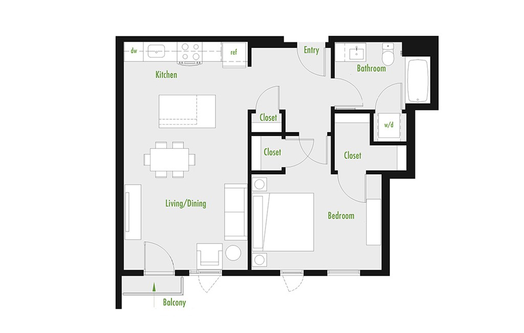 Plan B | 1 Bedroom Flat | 1 bath | 534-1,012 SF
