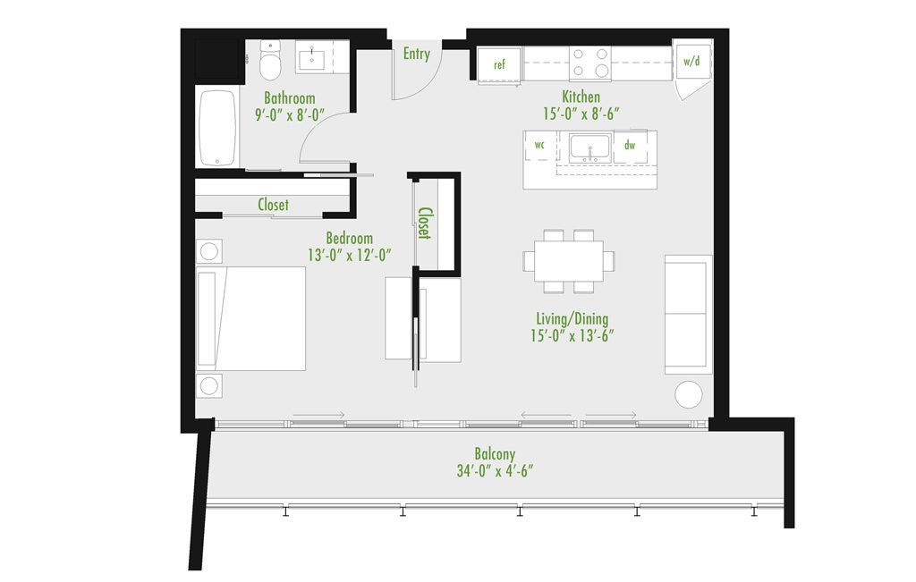 Plan C | 1 Bedroom Flat | 1 bath | 534-1,012 SF