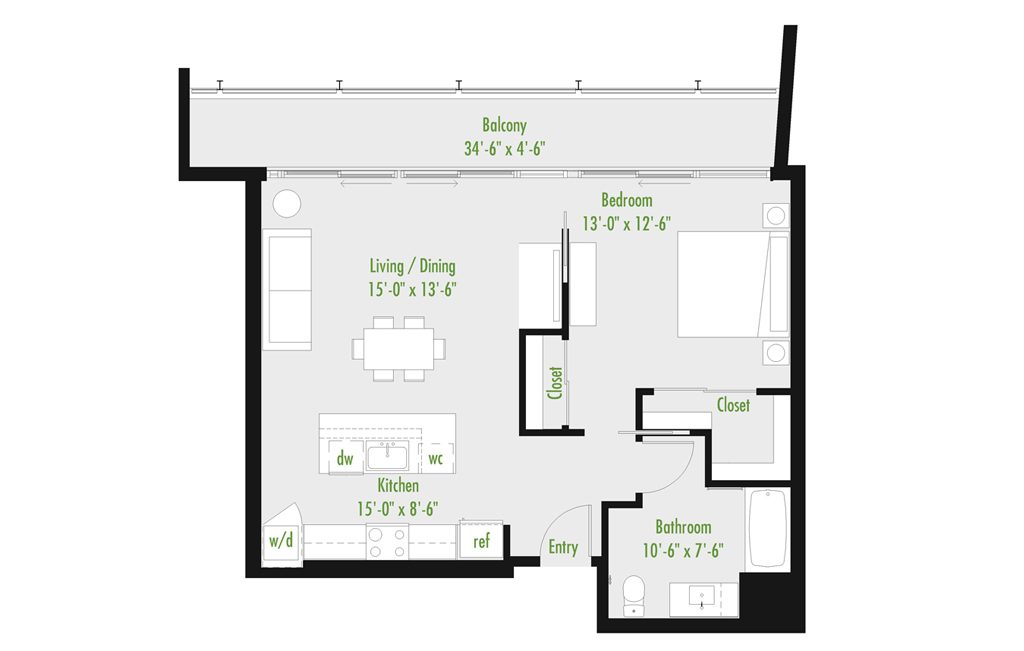 Plan D | 1 Bedroom Flat | 1 bath | 534-1,012 SF