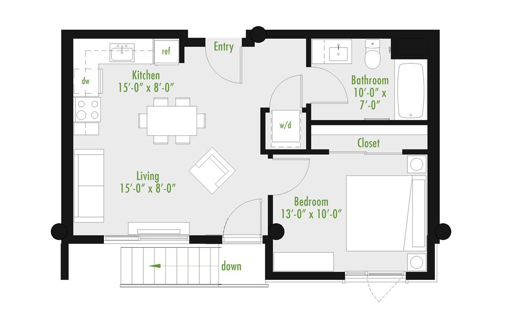 Plan E | 1 Bedroom Flat | 1 bath | 534-1,012 SF