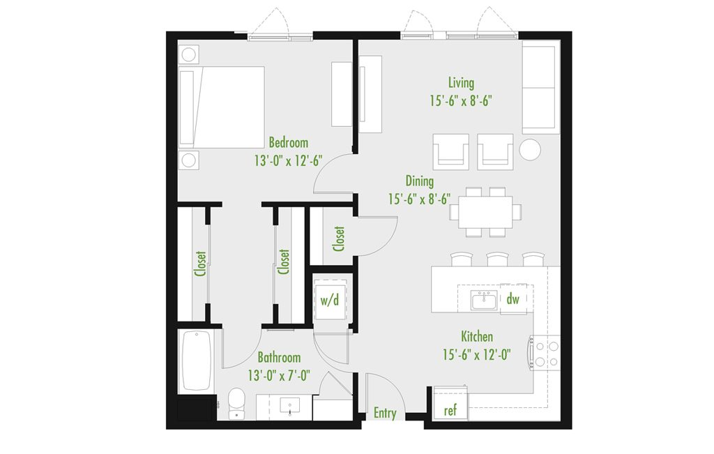 Plan F | 1 Bedroom Flat | 1 bath | 534-1,012 SF