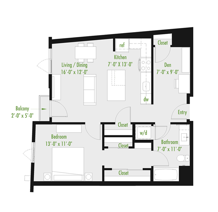 Plan C | 2 Bedroom Loft | 2 bath | 1,045-1,378 SF