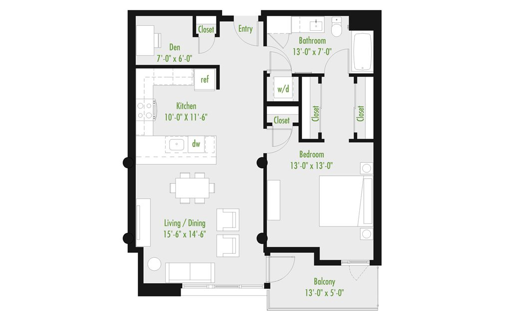 Plan D | 1 Bedroom Flat | 1 bath | den | 798-1,012 SF