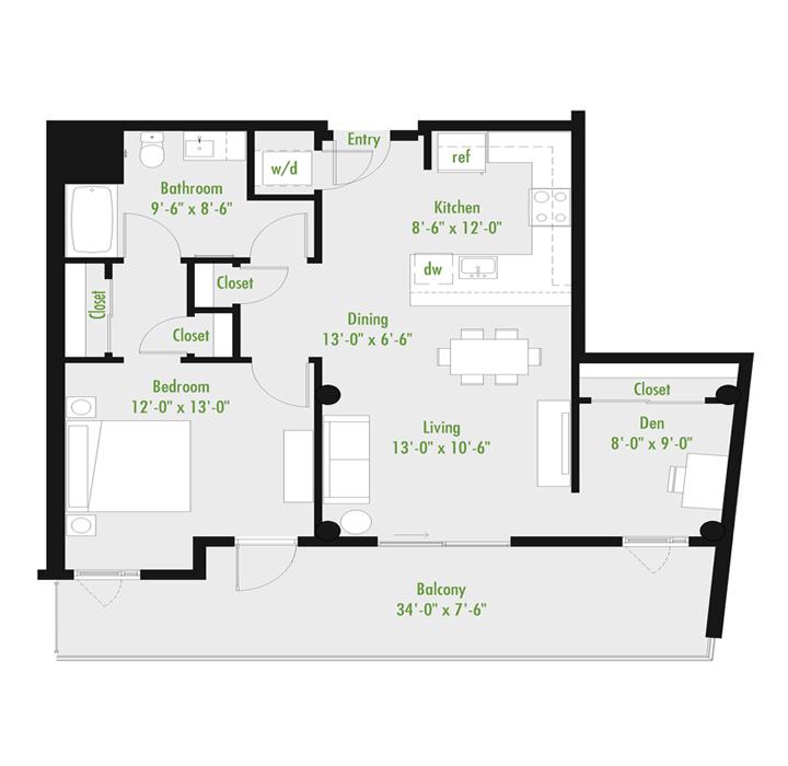 Plan F | 1 Bedroom Flat | 1 bath | den | 798-1,012 SF