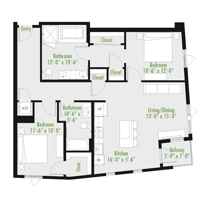 Plan A | 2 Bedroom Loft | 2 bath | 1,045-1,378 SF