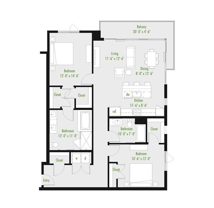 Plan B | 2 Bedroom Loft | 2 bath | 1,045-1,378 SF