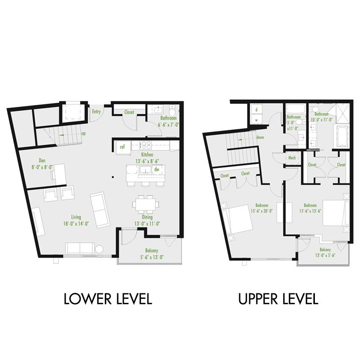Plan B | 2 Bedroom Townhome | 2.5 bath | den | 1,679-2,007 SF