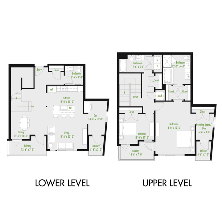 Plan C | 2 Bedroom Townhome | 2.5 bath | den | 1,679-2,007 SF
