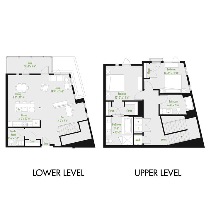 Plan D | 2 Bedroom Townhome | 2.5 bath | den | 1,679-2,007 SF