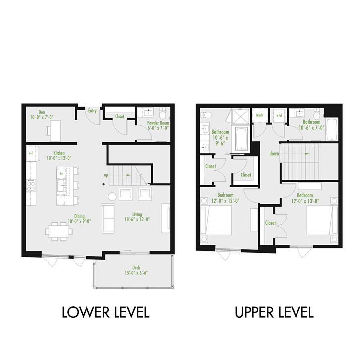 Plan E | 2 Bedroom Townhome | 2.5 bath | den | 1,679-2,007 SF
