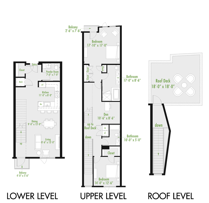 Plan Y Loft A | 2 Bedroom Loft | 2.5 bath | Den