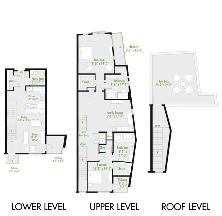 Plan Y Loft B | 2 Bedroom Loft | 2.5 bath
