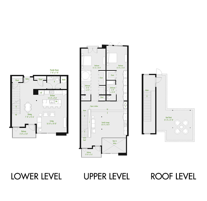 Plan Z Loft A | 2 Bedroom Loft | 2.5 bath