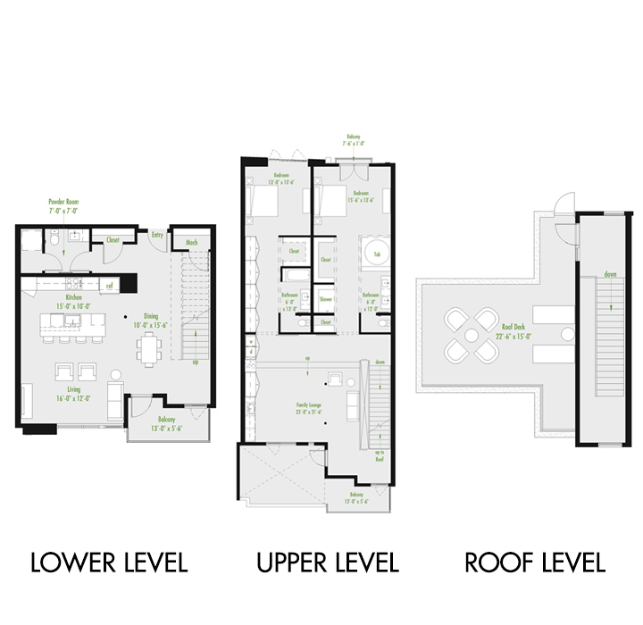 Plan Z Loft B | 2 Bedroom Loft | 2.5 bath
