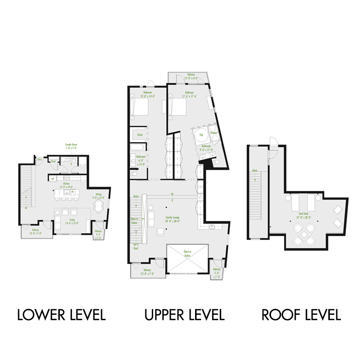 Plan Z Loft C | 2 Bedroom Loft | 2.5 bath